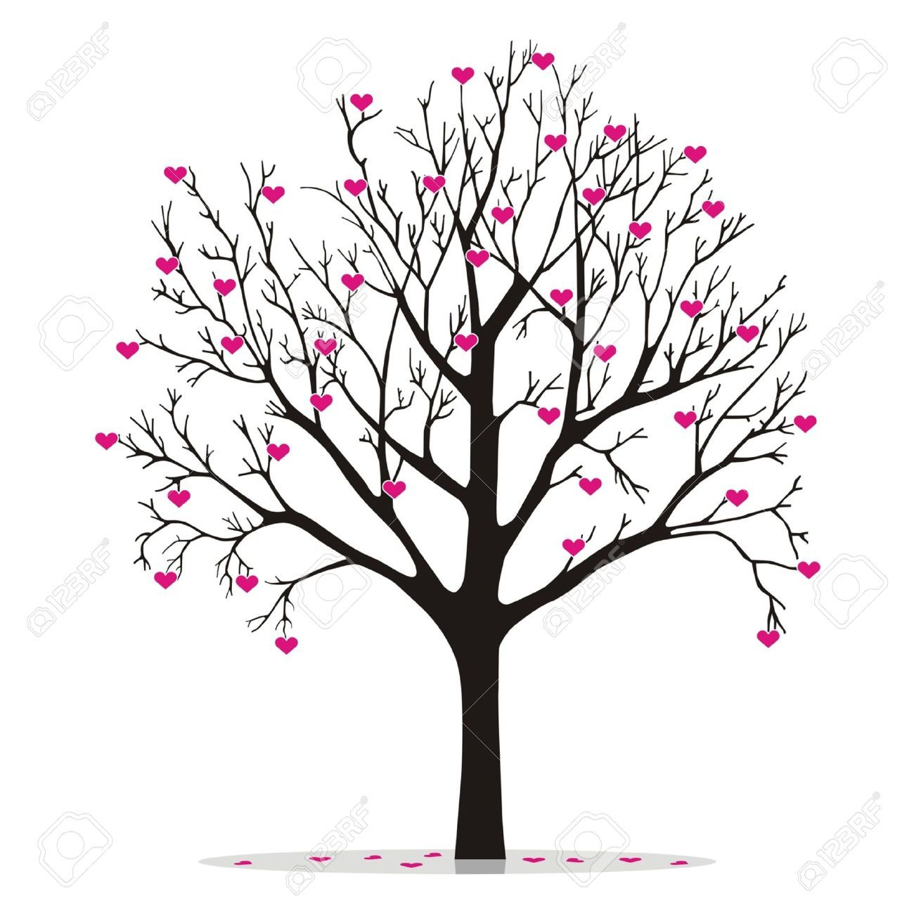 Valentine Tree With Hearts Royalty Free Cliparts Vectors