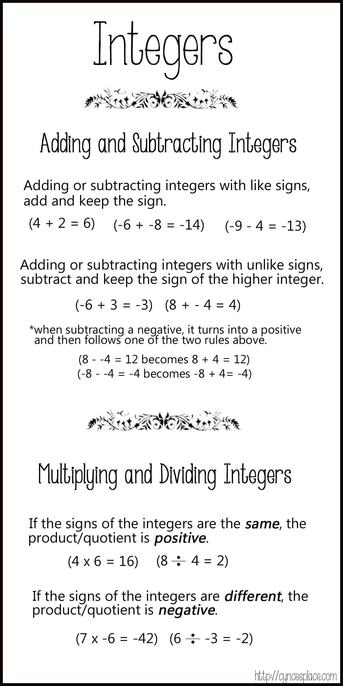 Adding Subtracting Multiplying And Dividing Integers Chart