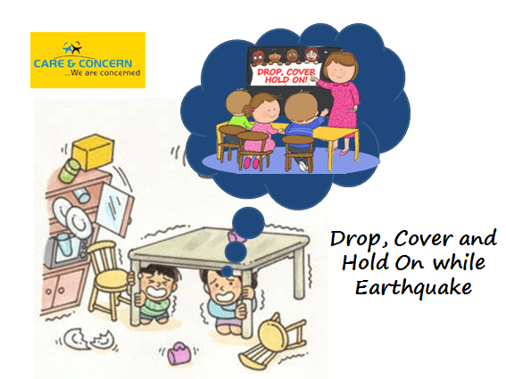 Drop, Cover and Hold On while Earthquake earthquake