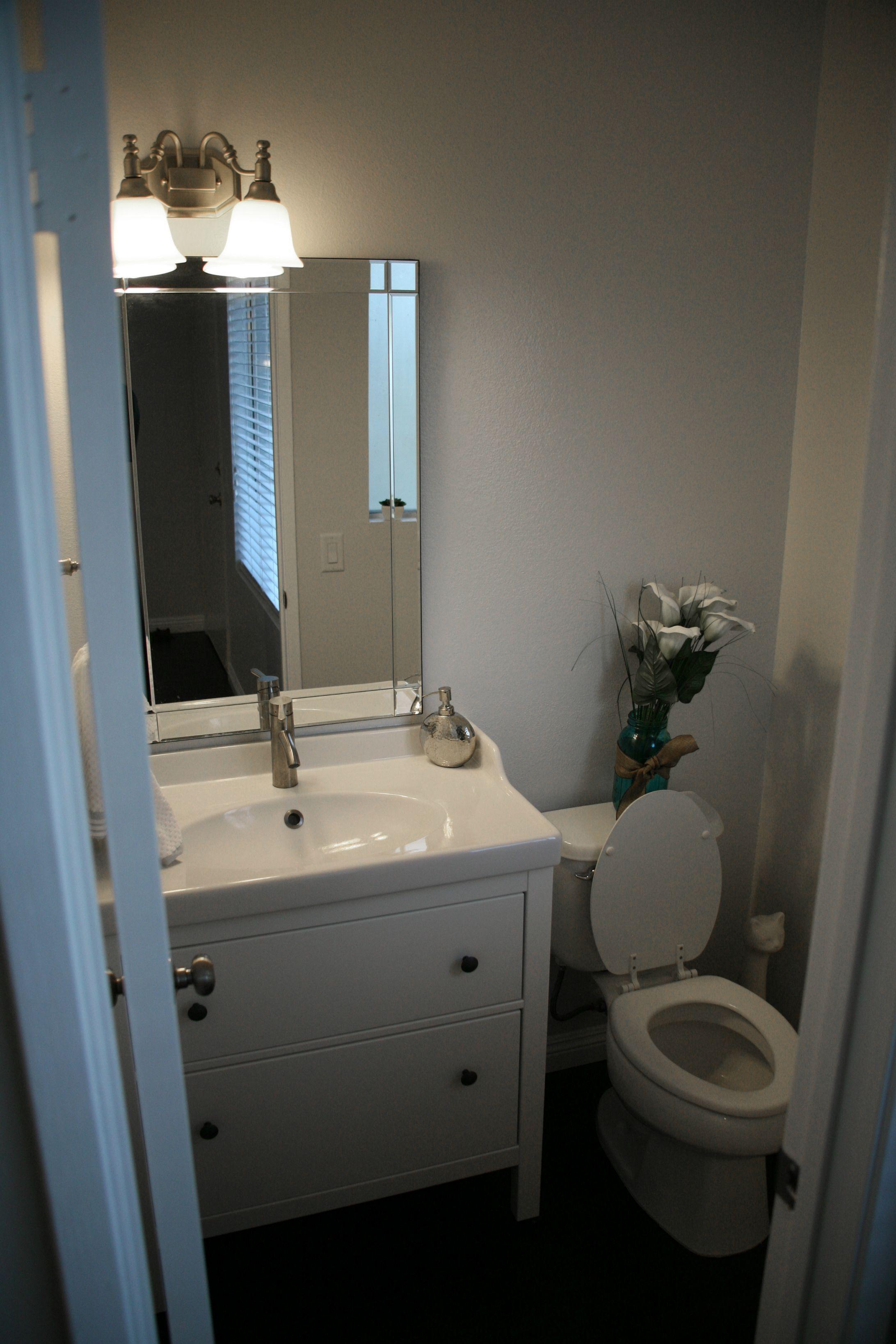 First Home Renovation Ikea vanity, Floors kitchen and HEMNES