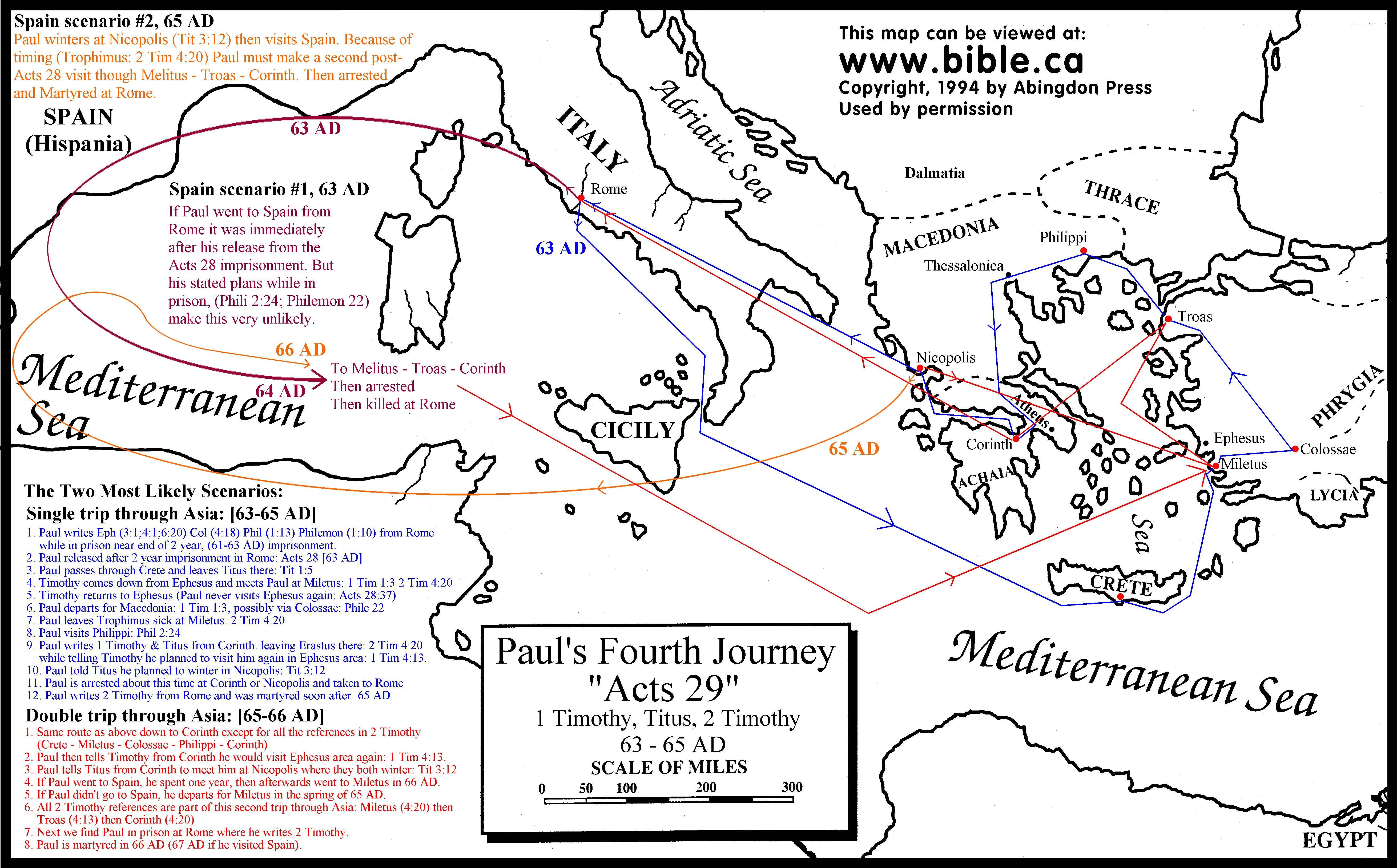 Paul S 4th Amp 5th Missionary Journey S Free Map