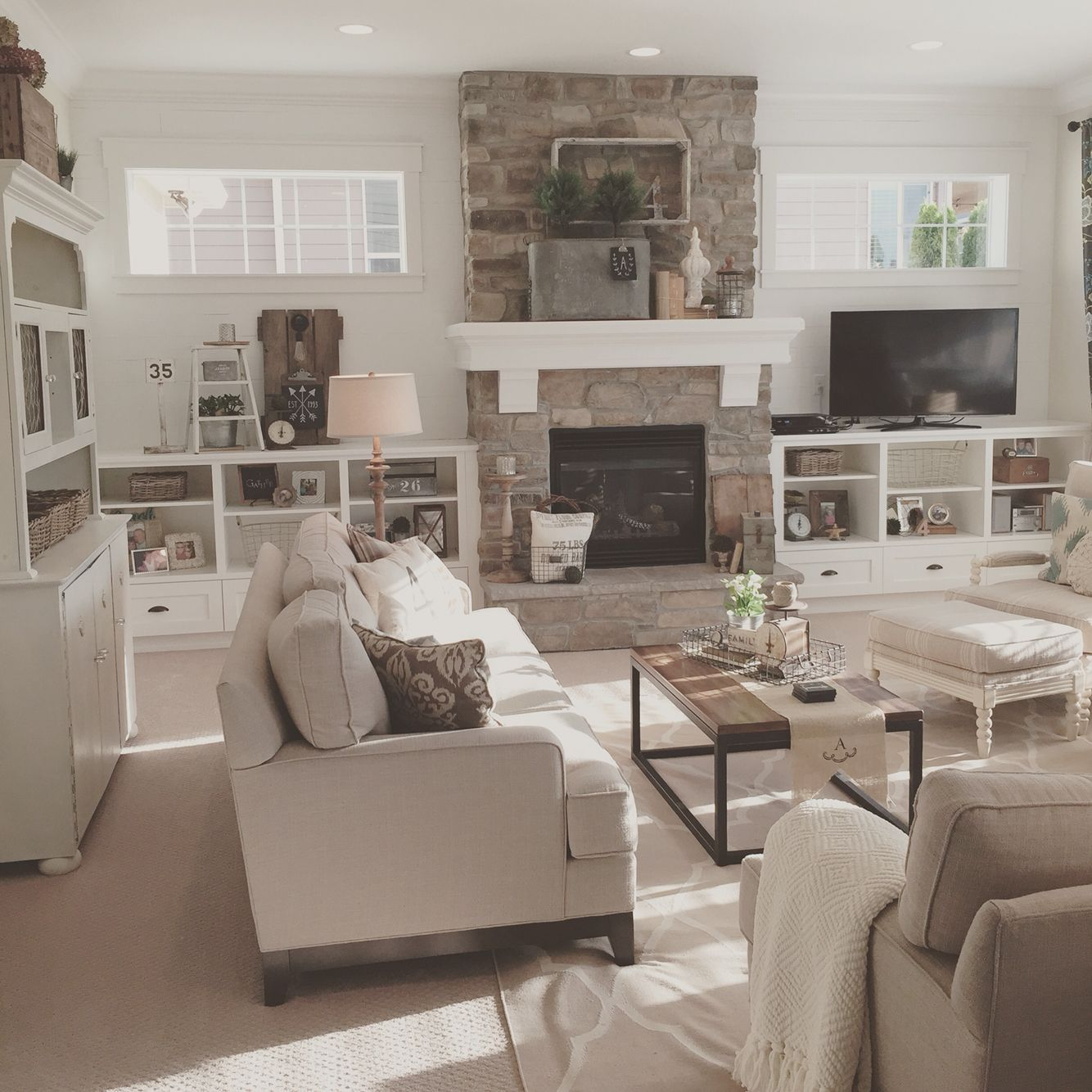 Open concept great room with modern farmhouse style