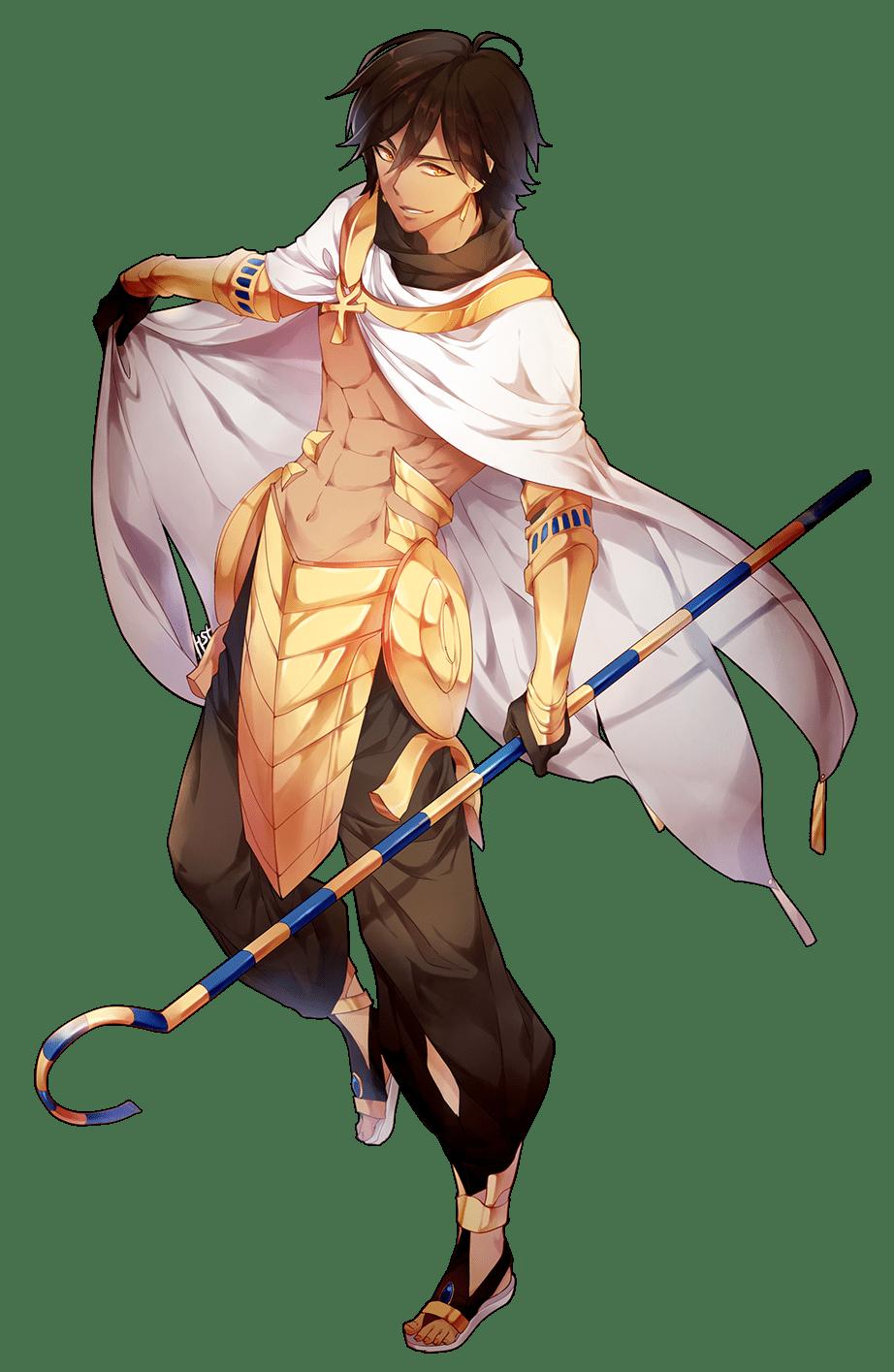1boy ankh armor brown_hair cape crook_and_flail dark_skin