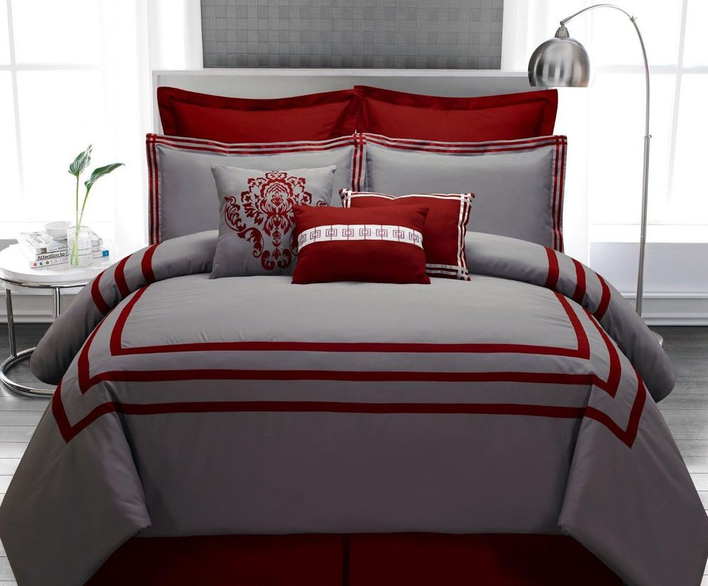 Comforter Set Queen 9PC Burgundy Gray Stripe Hotel Modern