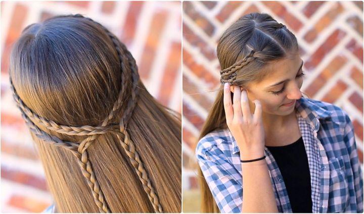 Double Braid Tieback Kiểu tóc cô gái dễ thương