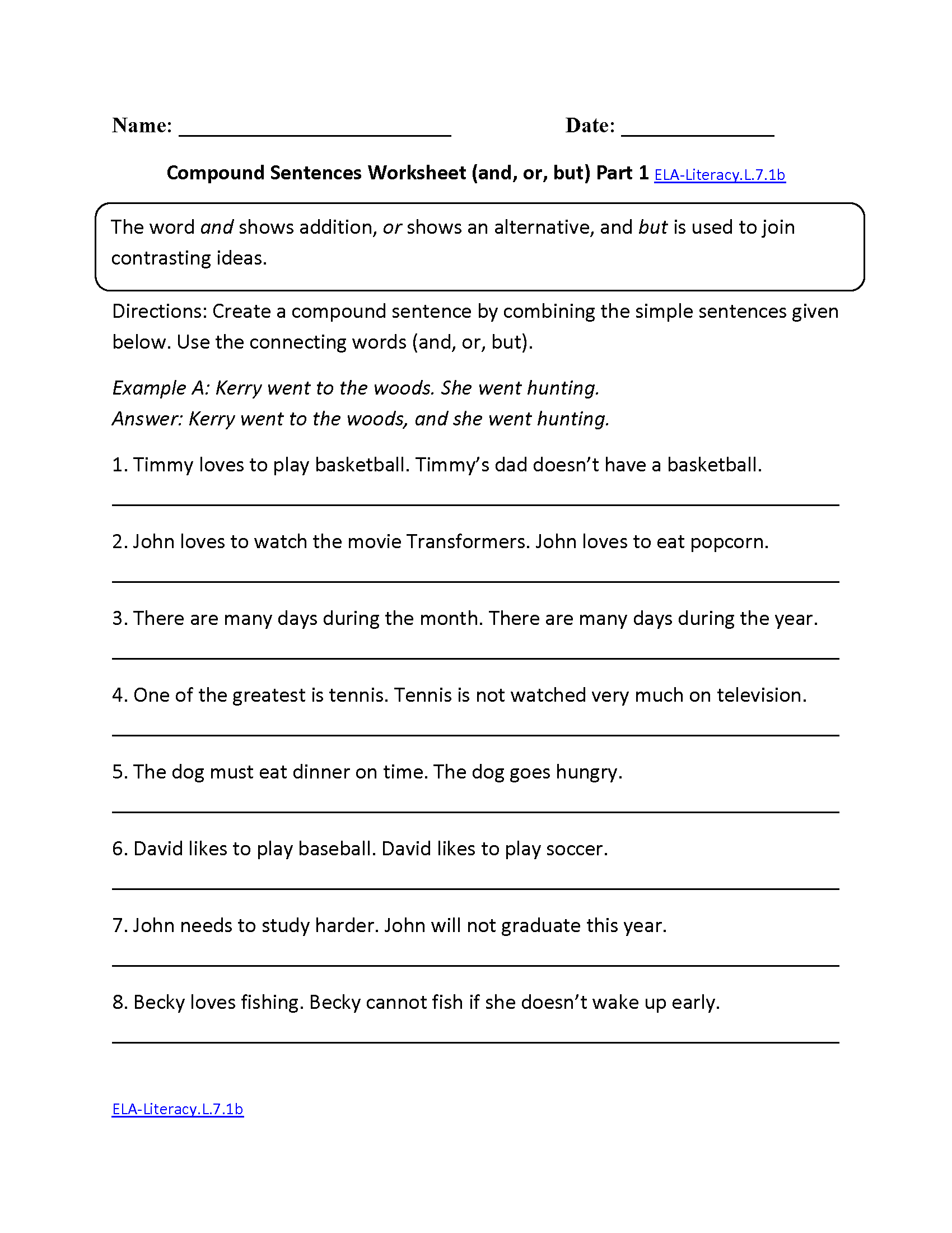 Compound Sentences Worksheet Ela Literacy L 7 1b Language Worksheet