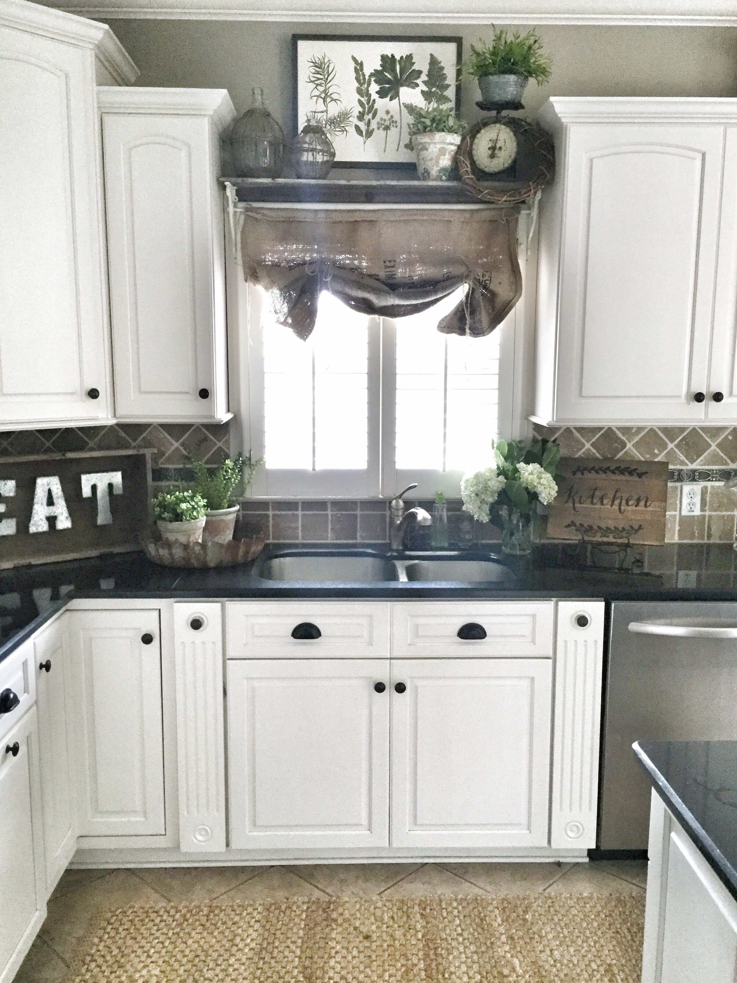 Farmhouse kitchen decor. Shelf over sink in kitchen. DIY