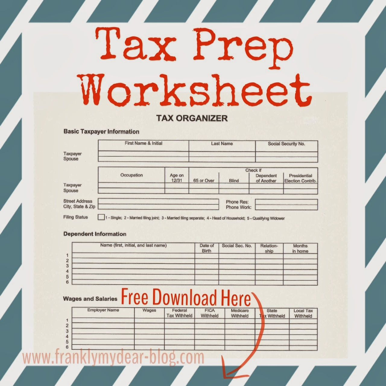 Tax Preparation Organizer Worksheet