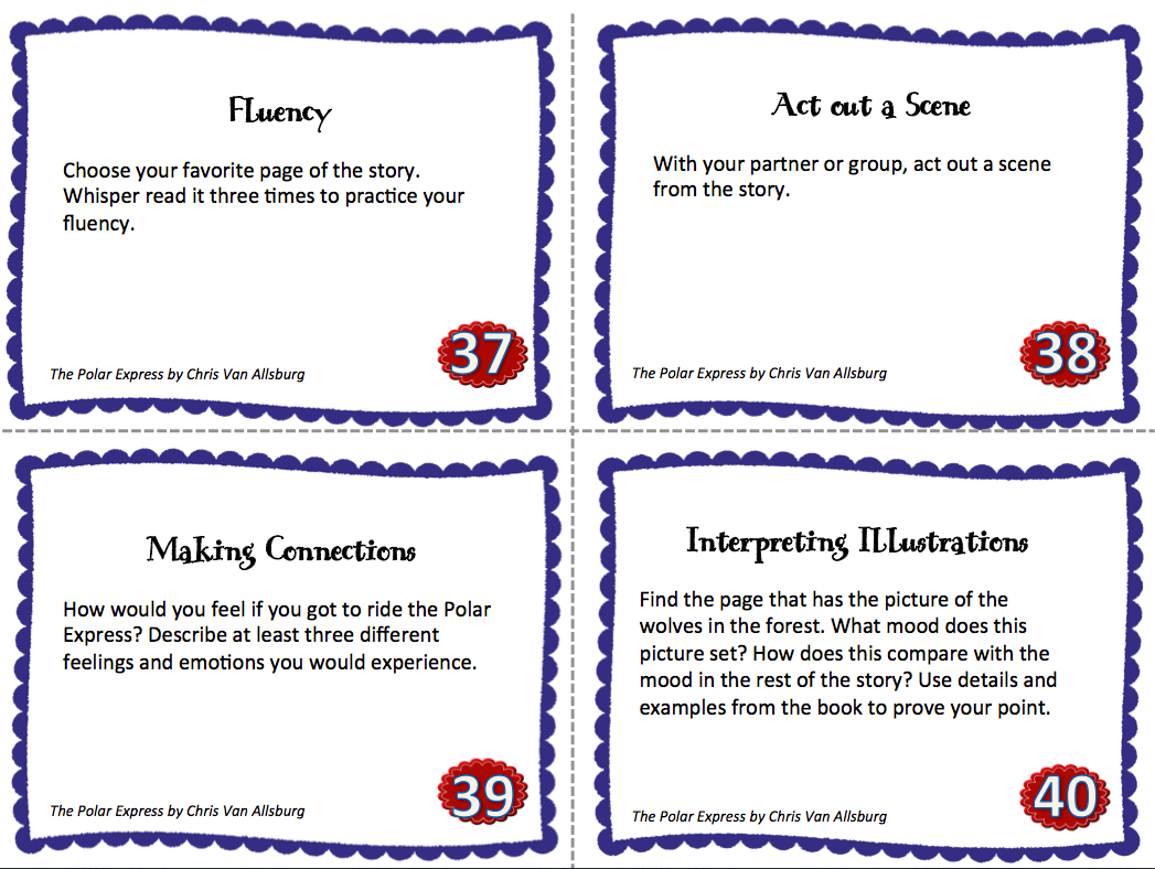 Picture Book Task Cards The Polar Express