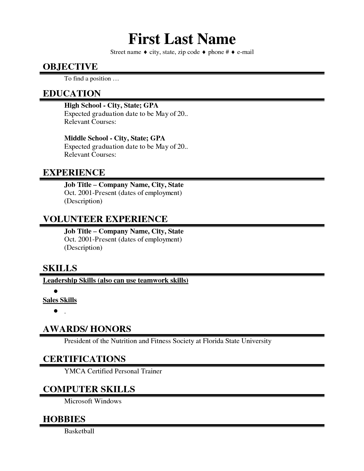 sample resume for college summer jobs college resume  resume writing for high school