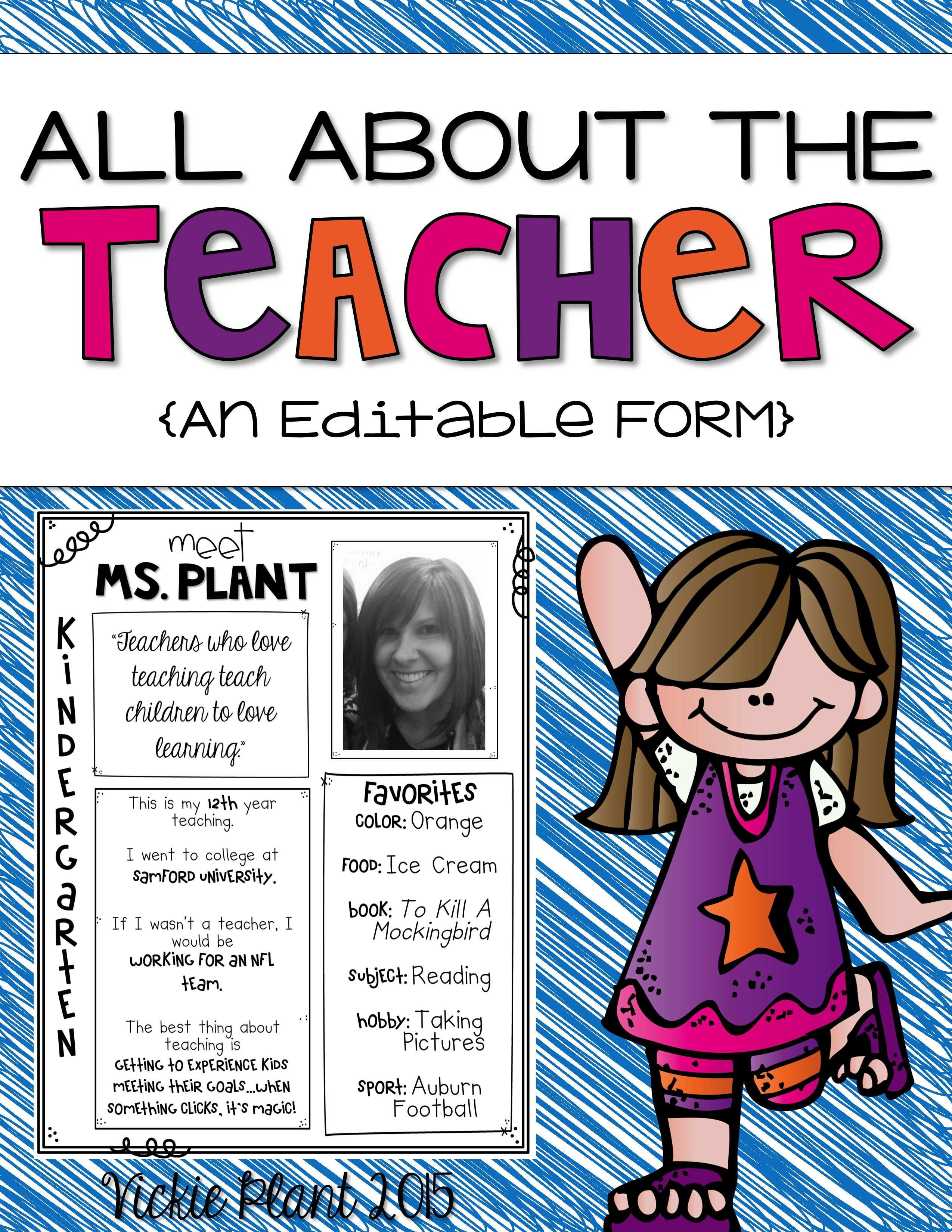 This Editable Teacher Information Form Is Great To Send