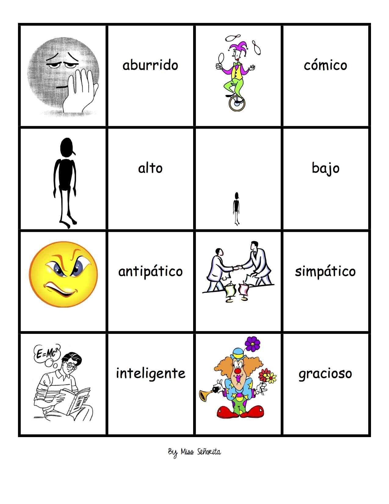 Spanish 1 Memory Memoria Games