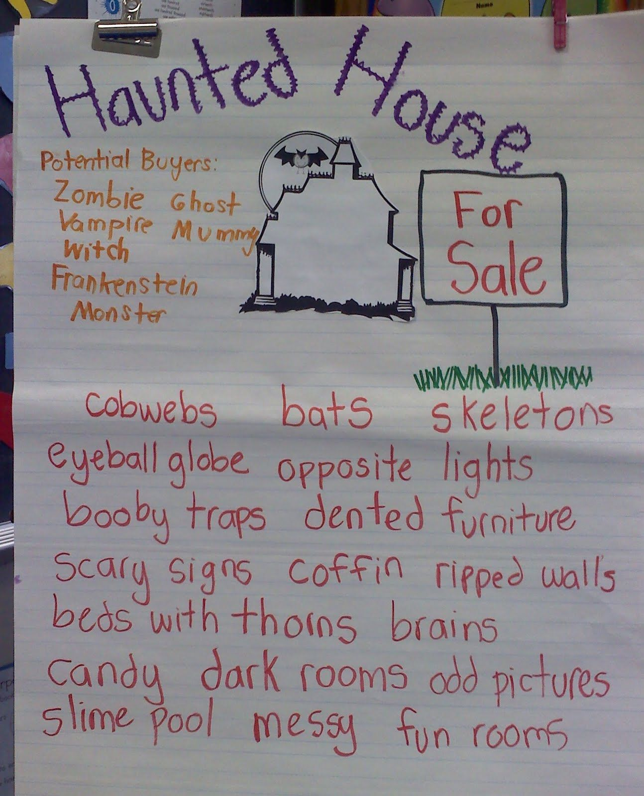 This Teacher Used My Haunted House For Sale Writing Packet