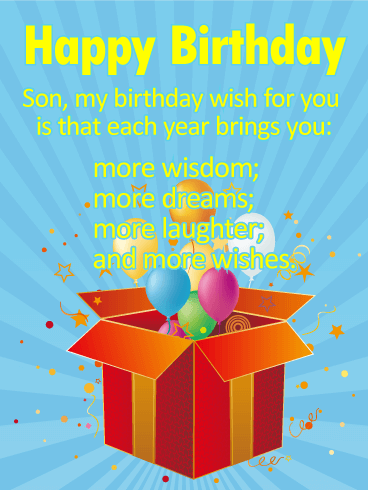 Many More Wishes For A Son Happy Birthday Card This Birthday Card Is Heart Felt And