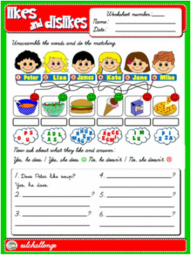 LIKES AND DISLIKES WORKSHEET ENGLISH STEP BY STEP