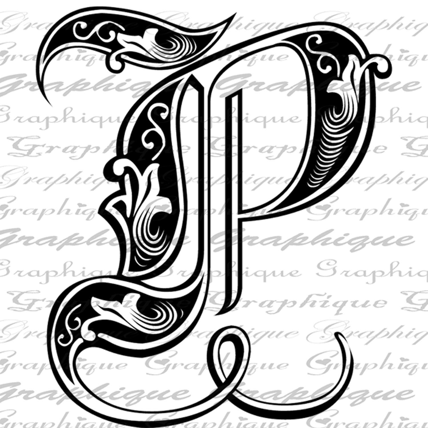 Letter Initial P Monogram Old Engraving Style Type Text