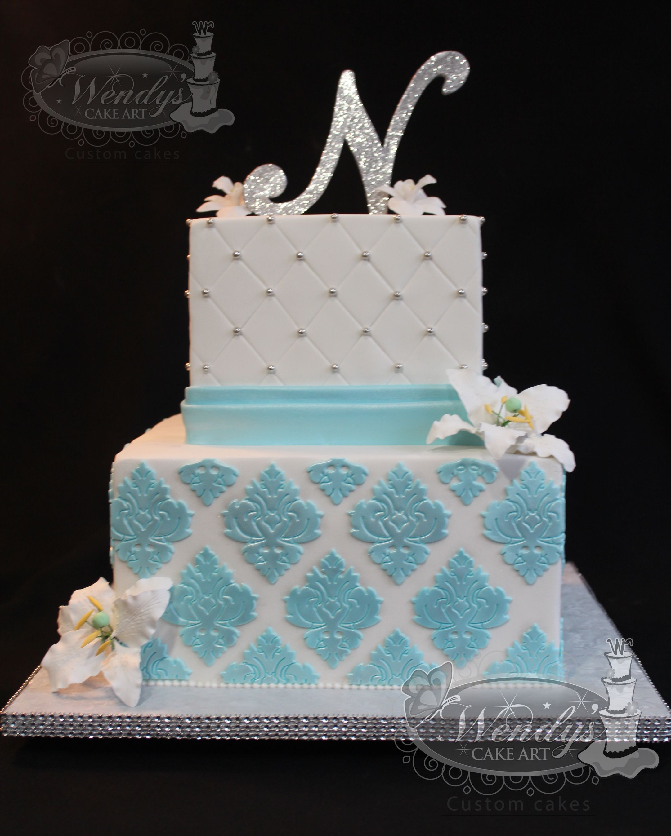 Wendyscakeart Two Tiers Cake Blue And White Cake