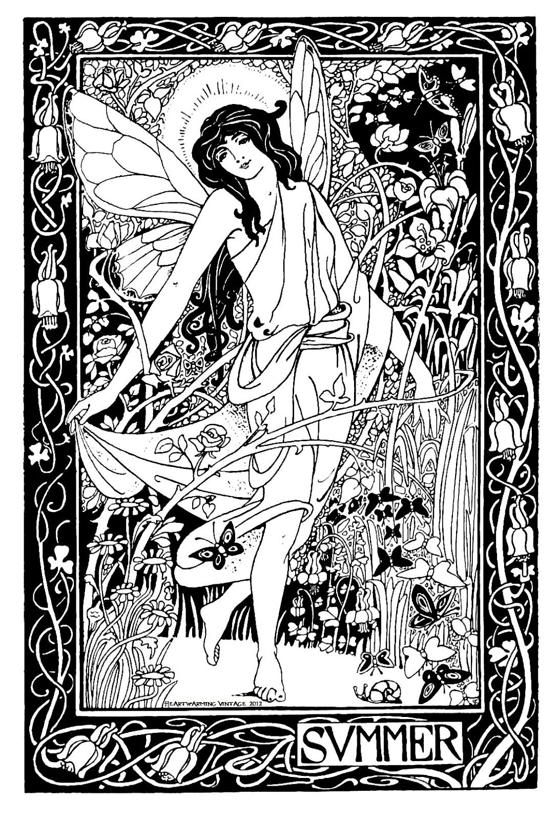 Wiccan Coloring Pages Vintage Summer Lady Printable And