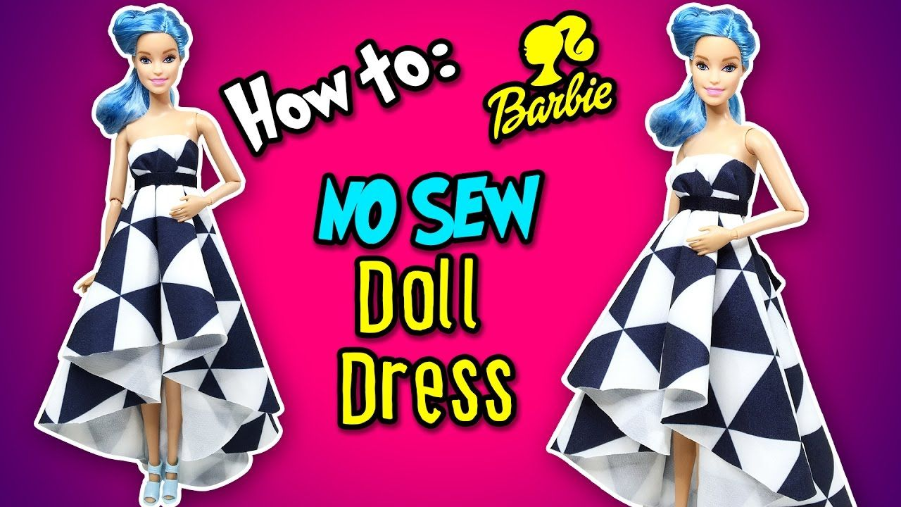 How to Make No Sew Doll Dress / Gown DIY Barbie Clothes