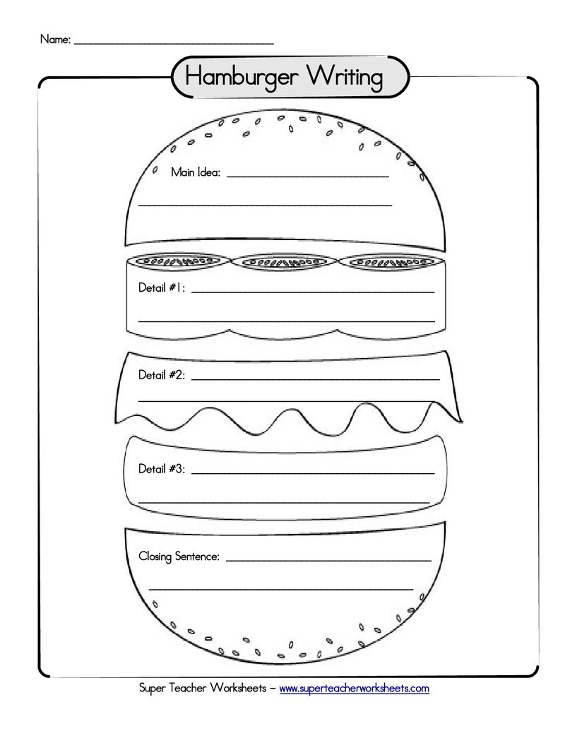 worksheet: Hamburger Paragraph Worksheets Writing A Topic Sentence ...