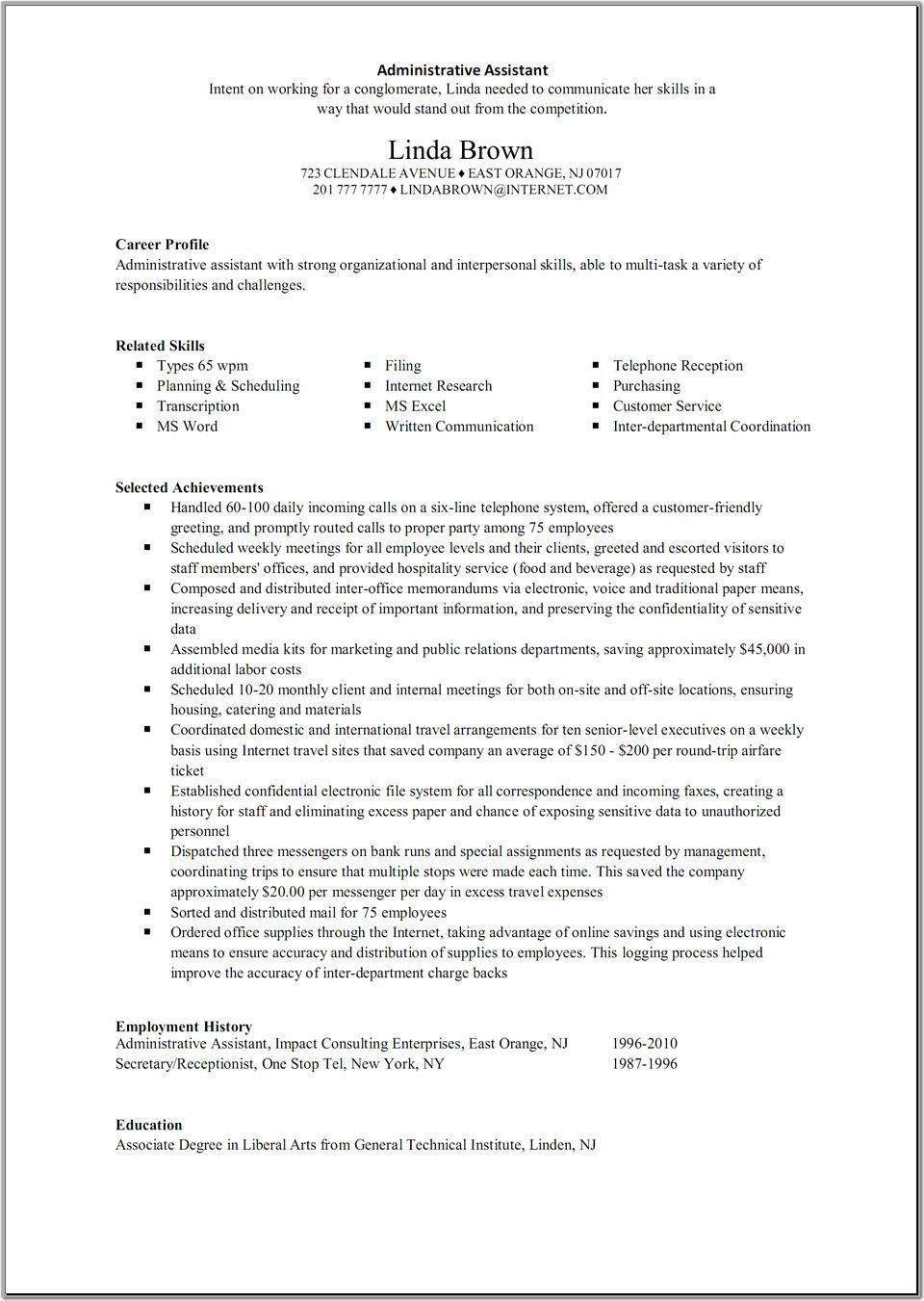 receptionist administrative assistant resume sample resume for