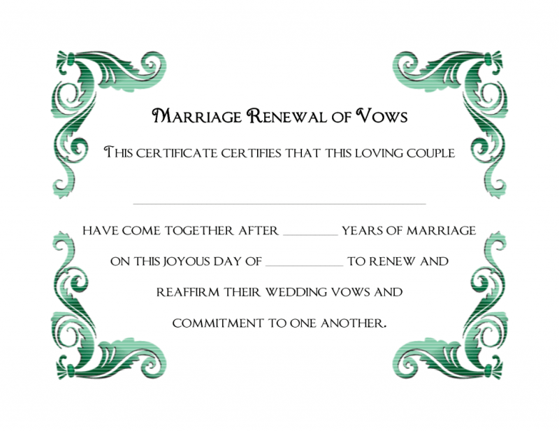 A simple green frame of free printable wedding vows