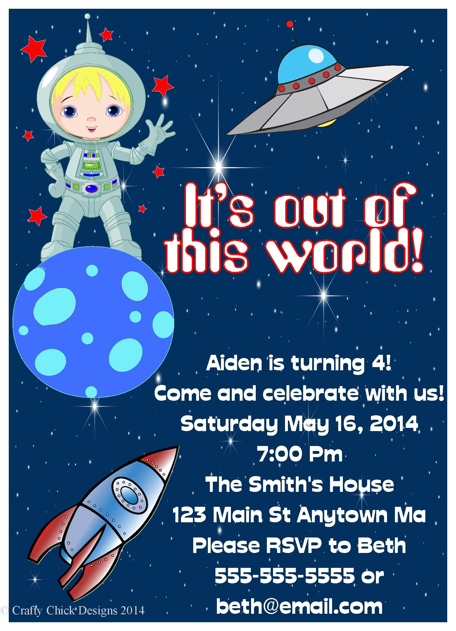 Astronaut Space Girl or Boy Birthday Party Invitations