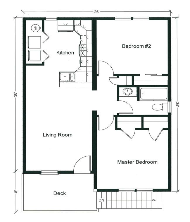 2 Bedroom Bungalow Floor Plan And Two Generously Sized Bedrooms