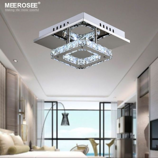 Square Led Crystal Chandelier Light For Aisle Porch Hallway Stairs Wth Bulb 12 Watt