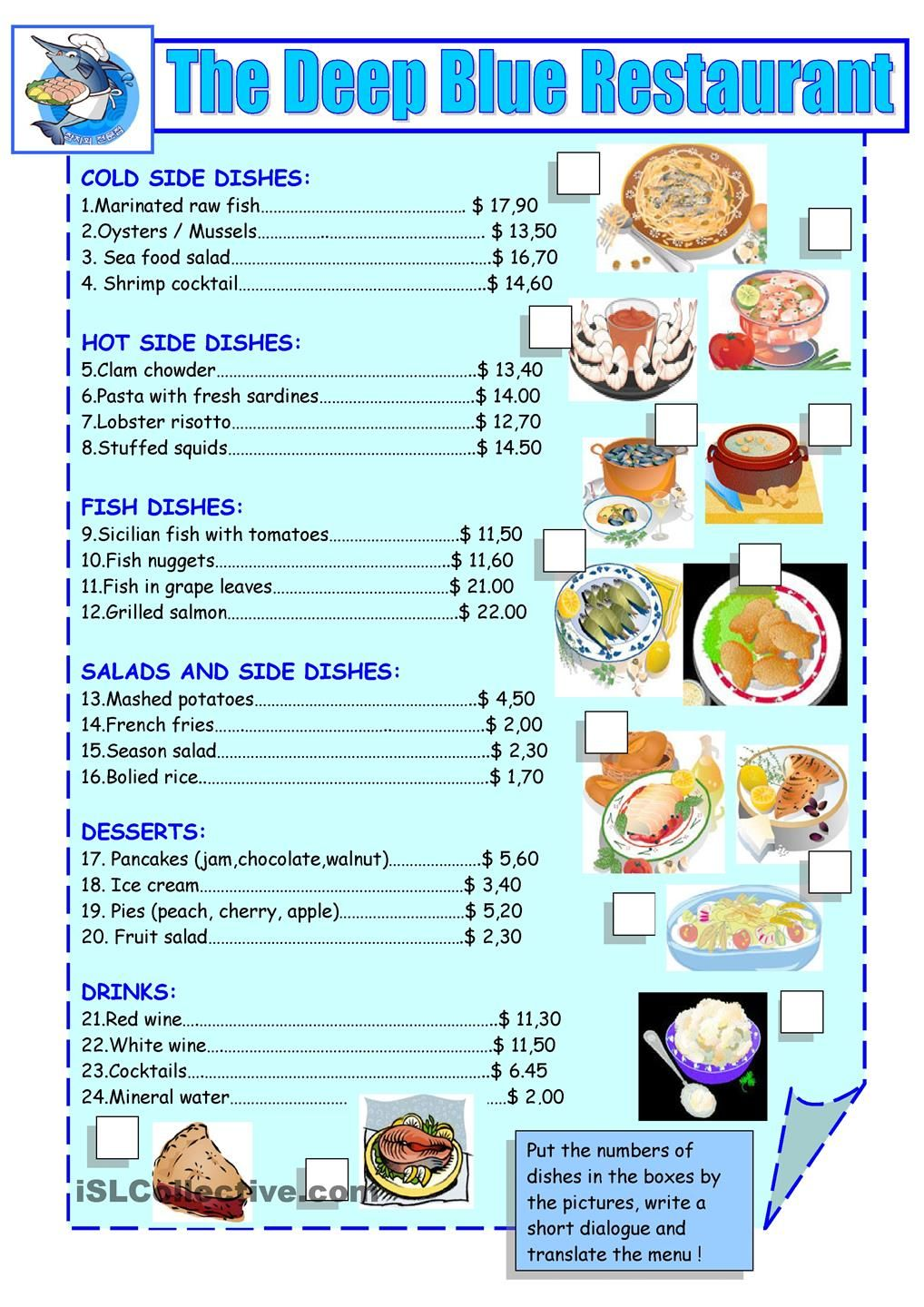 printable restaurant menu Google Search for the