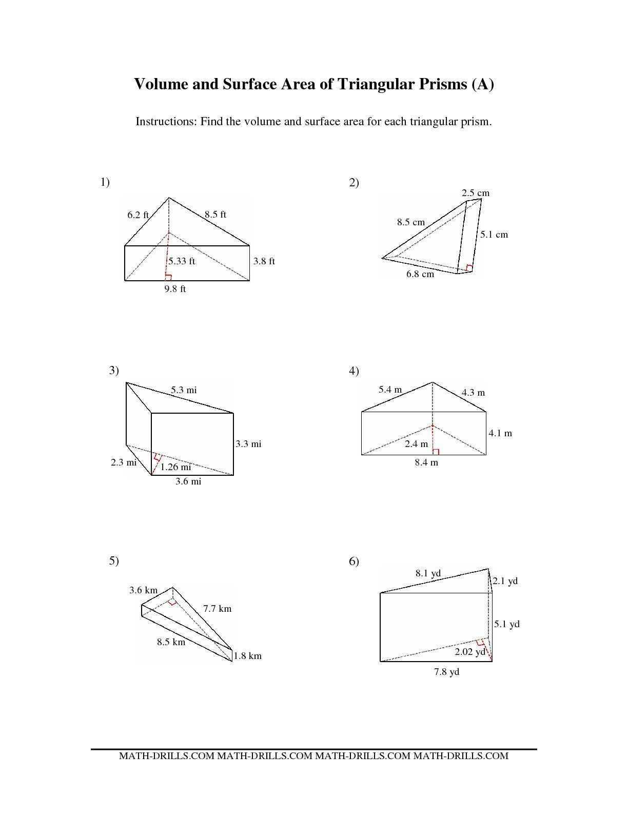 The Volume And Surface Area Of Triangular Prisms A Math Worksheet From The Measurement