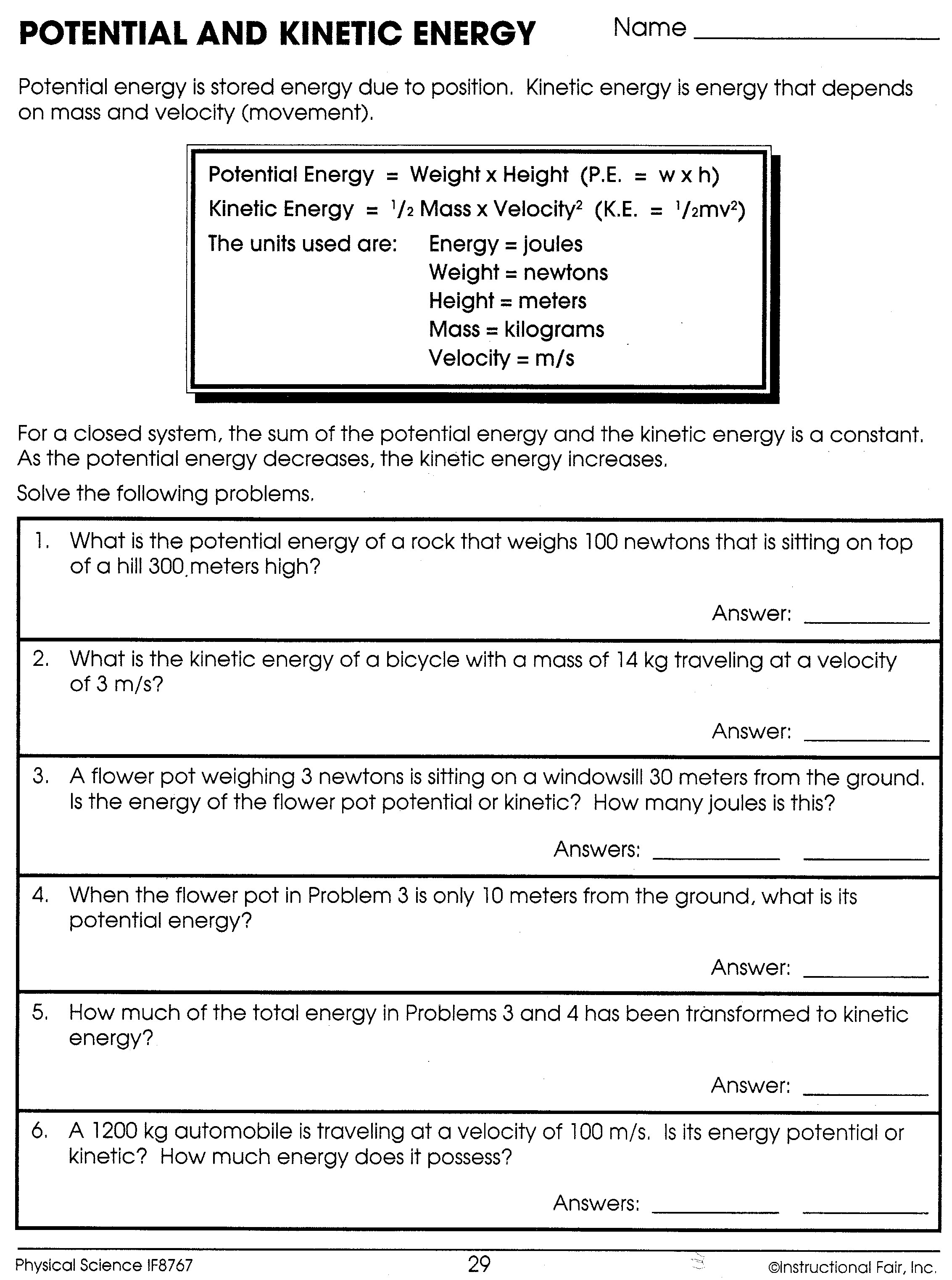 30 Forms Of Energy Worksheet