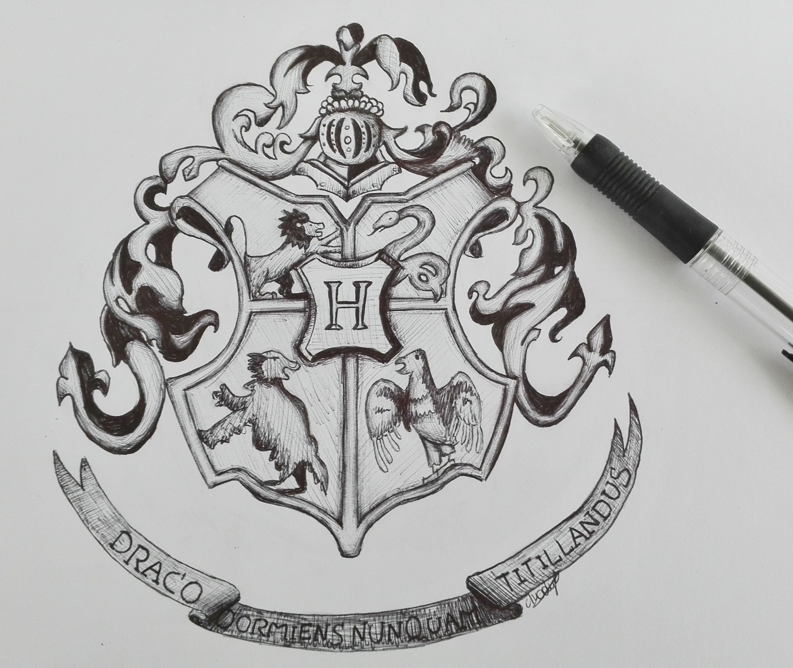 Harry Potter Hogwarts logo drawing harry potter