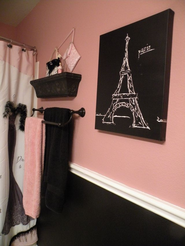 Black and pink Paris bathroom Shower curtain and accessories from