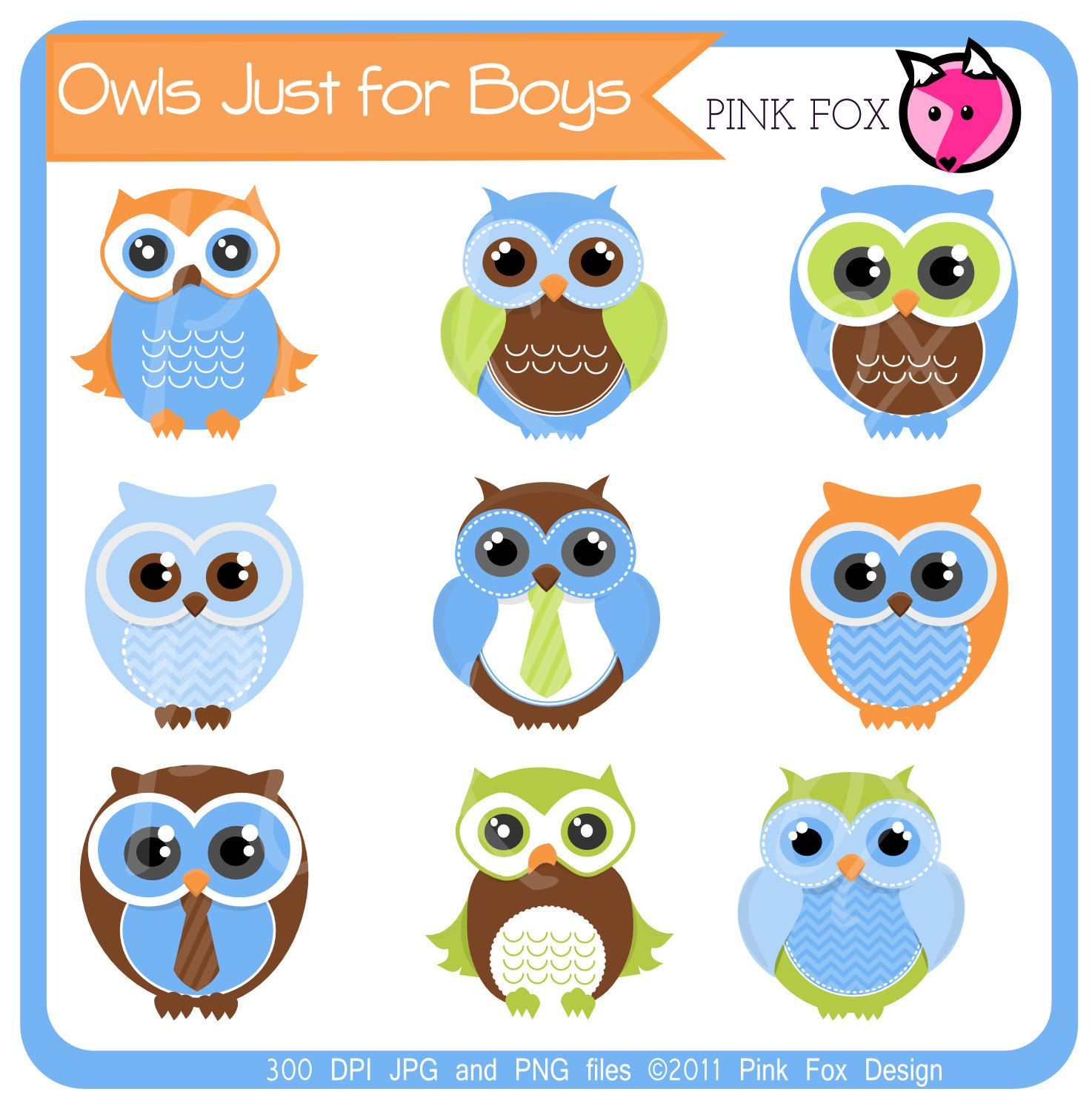 Instant Download Boys Owl Clipart For Personal And