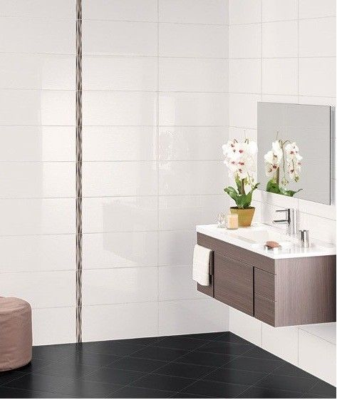 exmoor high gloss large white bathroom and kitchen ceramic wall