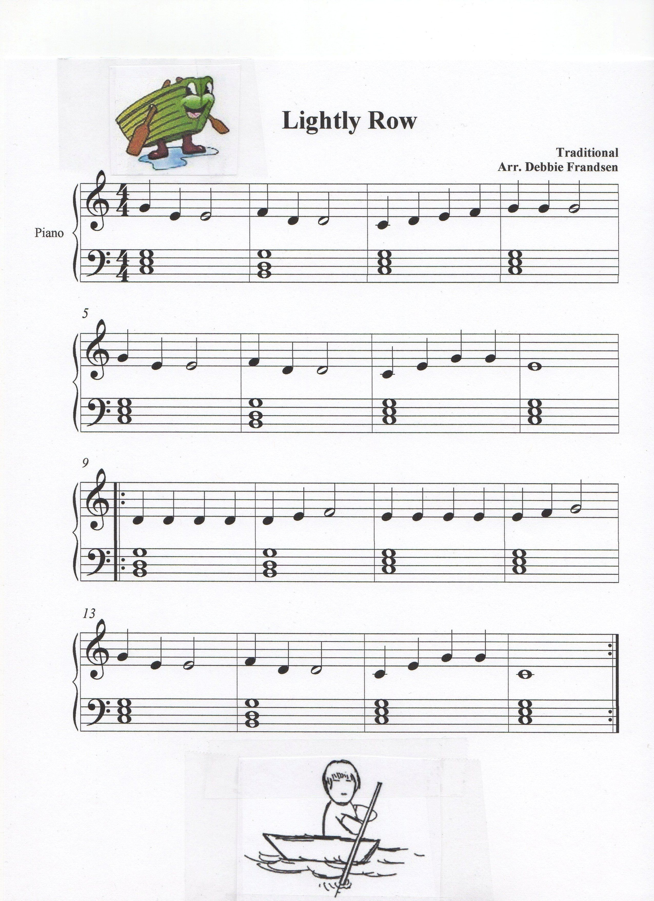 Lightly Row with basic block chords for Let's Play Music