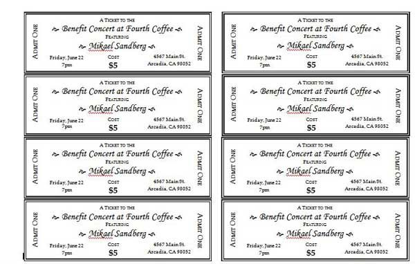 Fundraising Tickets Templates. 6 ticket template receipt templates ...