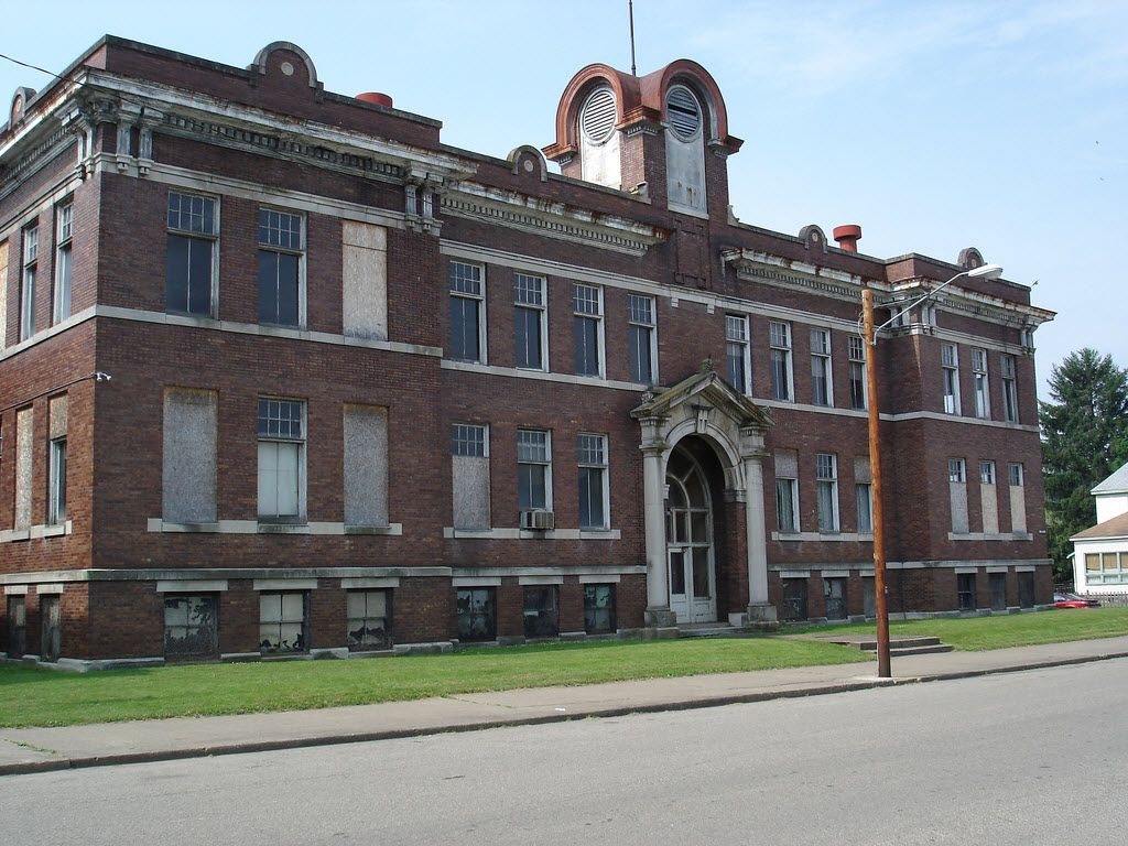 The abandoned Nelsonville High School in Nelsonville, Ohio