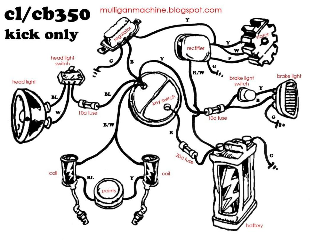 Simple Wiring Diagram Honda Cb550 Typo Biker Art
