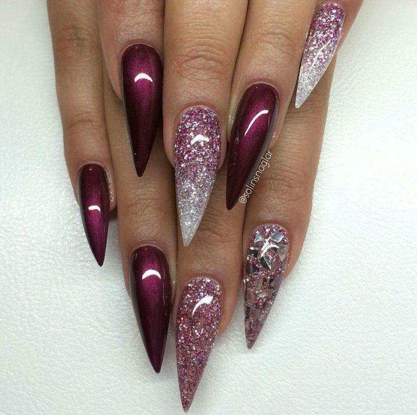 Mahogany Glitter Stiletto Nails C L A W S Amp P A W S