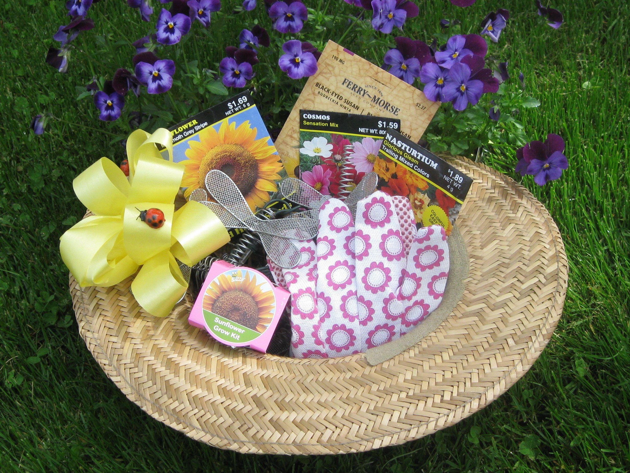 gardening gift baskets Make a garden hat into a gift