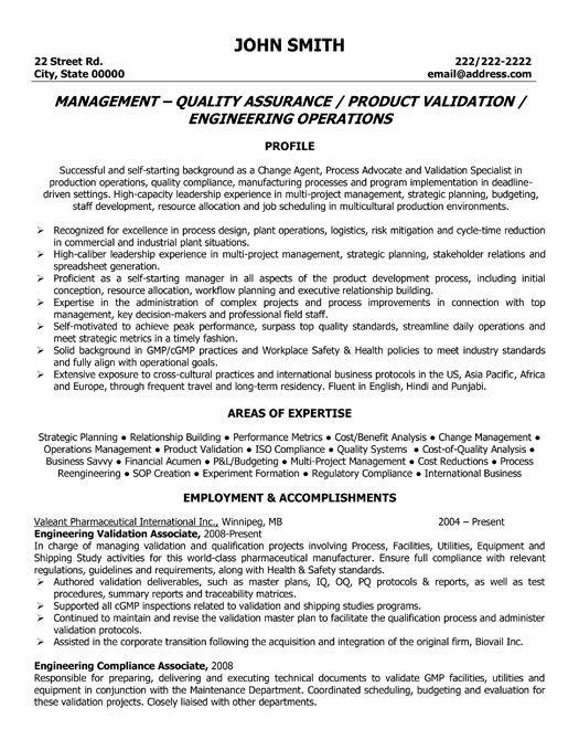 Sample Resume Quality Control Supervisor. cv electrical qa qc ...