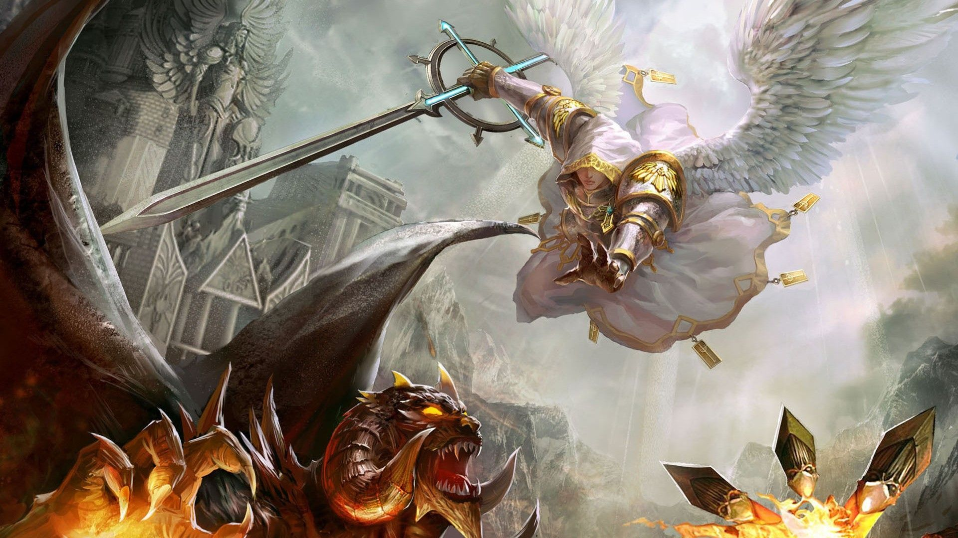 wallpaper might and magic heroes warrior wings sword monster