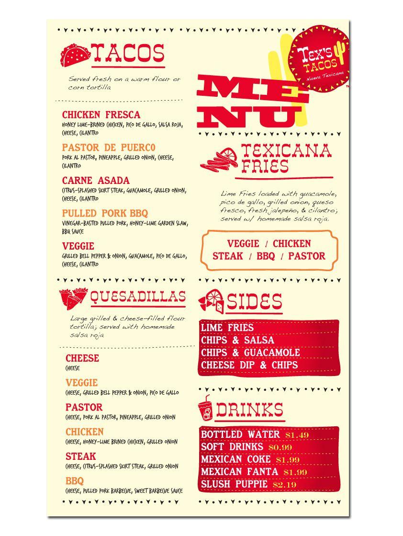 Tex's Tacos (food truck) fun & creative menu design
