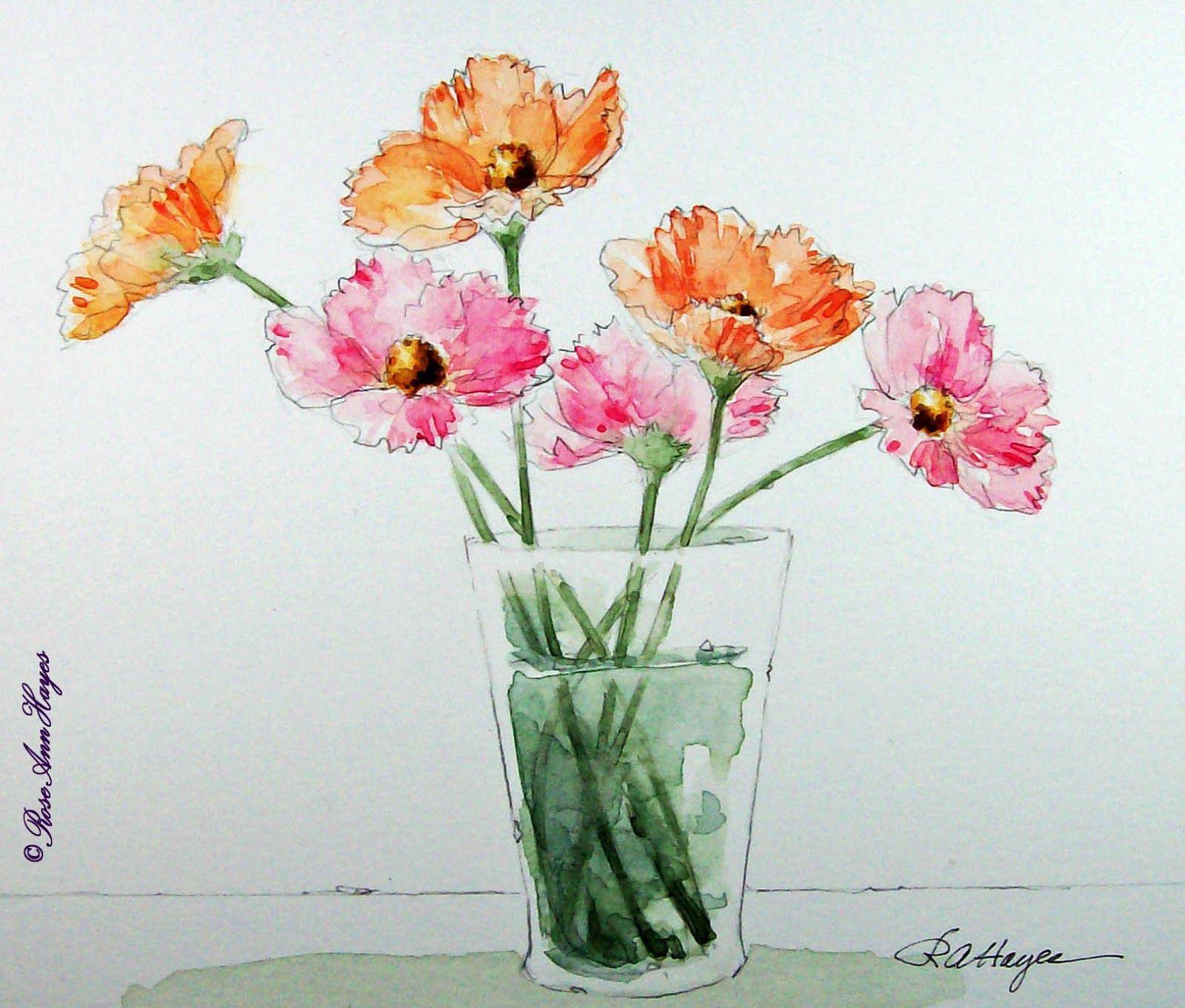 Watercolor Paintings by RoseAnn Hayes Cosmos Watercolor