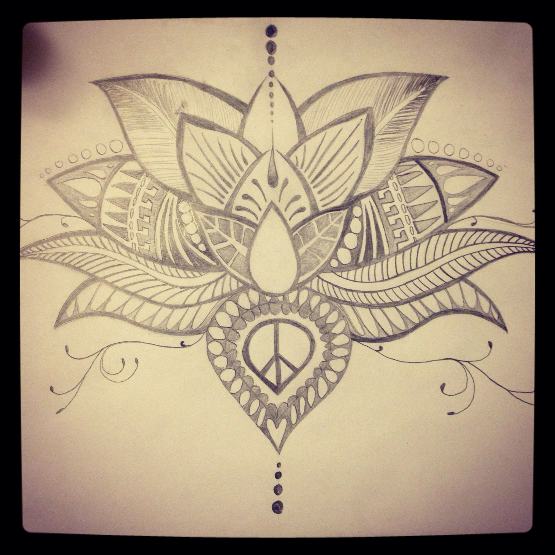 Hand drawn lotus flower tattoo. Sketch. Diy. Lotus tattoo