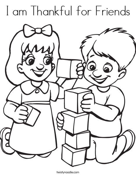 i am thankful for friends coloring page  preschool