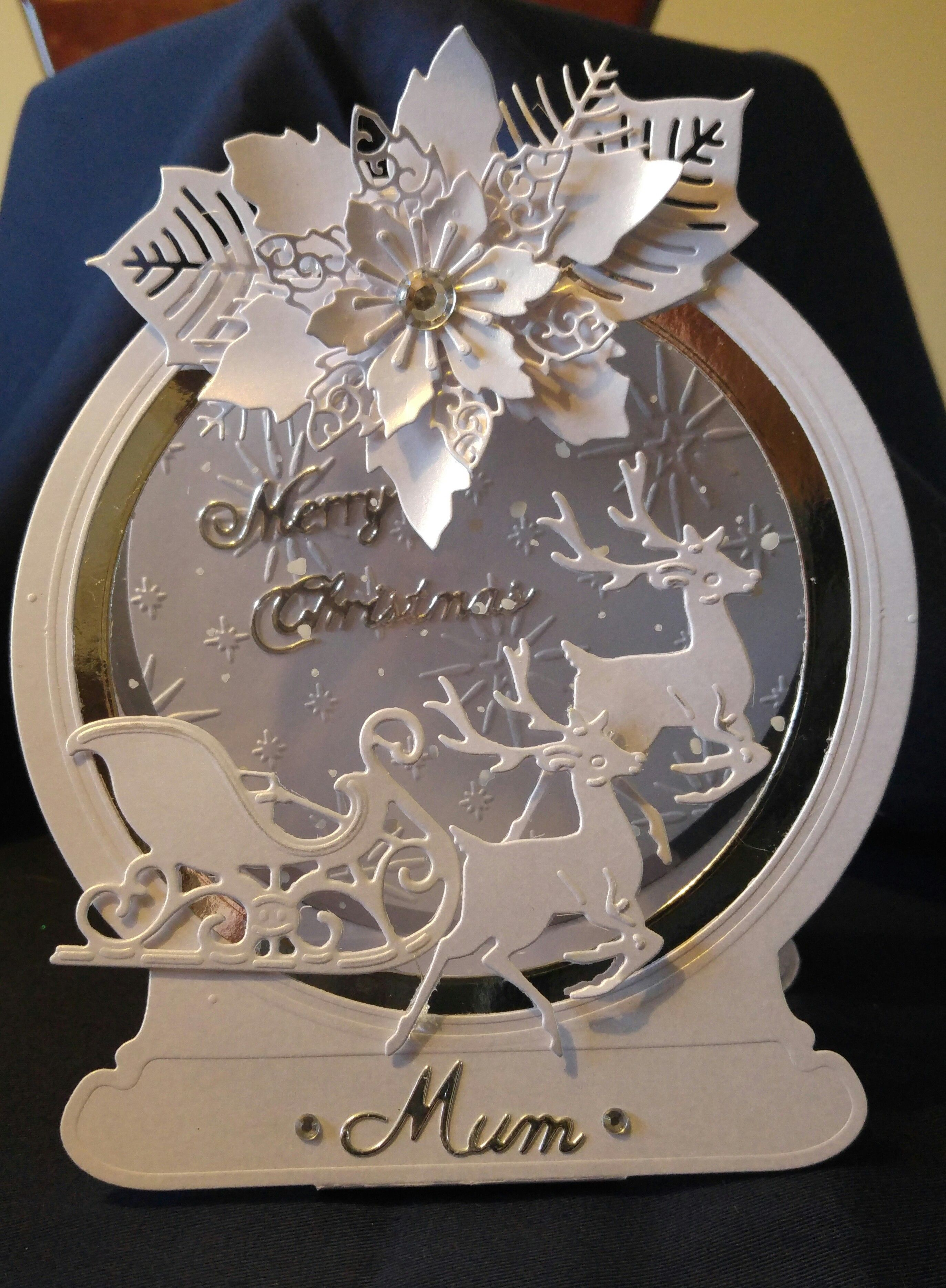 Tattered Lace Snowglobe card christmas cards Pinterest