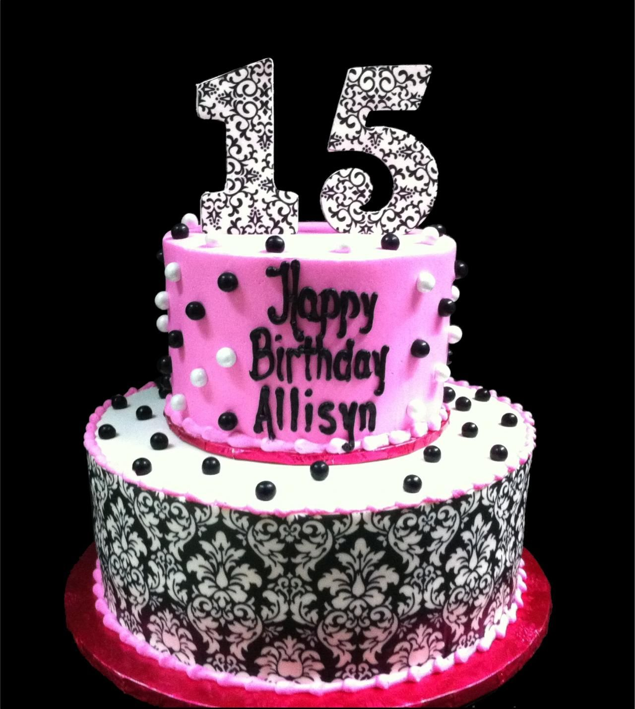 15th Damask Pearl Birthday Cake White And Pink